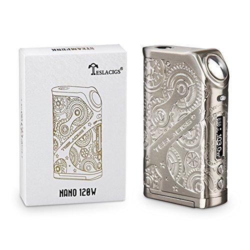 Teslacig Nano 120W E Zigarette/ E shisha Akku , VW/TC/TCR mode, helle OLED-Bildschirm, ohne Verdampfer, ohne 18650 Batterie, 1 Stück, Silbrig
