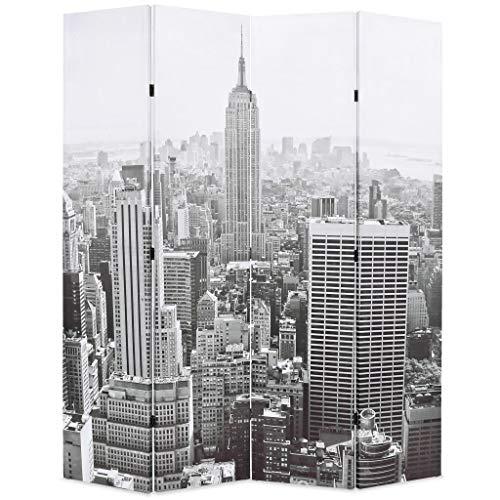 vidaXL Biombo Divisor Plegable 160x170 cm Nueva York Blanco y Negro Se