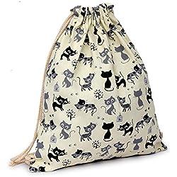 Vovotrade Gato encantador de la historieta Lona Cordón Saco colgante Playa deportiva Bolsa para mochila al aire libre Bolso del dinero del teléfono celular (beige)