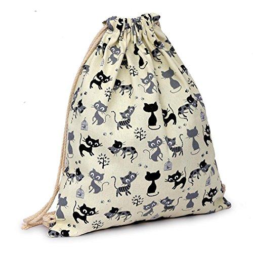 Imagen de vovotrade gato encantador de la historieta lona cordón saco colgante playa deportiva bolsa para  al aire libre bolso del dinero del teléfono celular beige