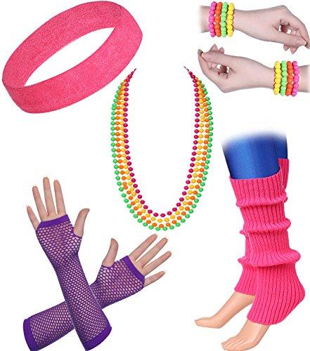 ArtiDeco Damen 80er Jahre Zubehör 1980s Disco Party Kostüm Outfit Zubehör Set Inklusive Stirnband Ohrringe Armbänder Beinlinge Fischnetz Handschuhe (Set-8)
