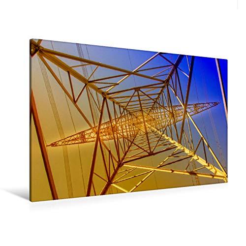 Premium Textil-Leinwand 120 cm x 80 cm quer Strommasten - Wege des Stroms