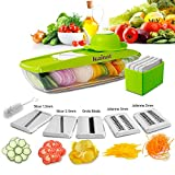 Mandoline Slicer Kainnt Adjustable Mandoline with 5 Thickness Settings Interchangeable Stainless Steel Blades -Vegetable Peeler Slicer+One White Clean Brush, 5 Blades, Food Container, Safety Food Holder, All-in-One Vegetable Cutter& Julienne Slicer