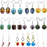 Beadworks Multicolor Glass Combo Of 12 Dangle & Drop Earrings For Girl