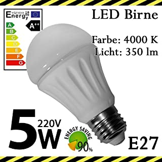 ALMIPEX E27 LED Lampe Birne 5W (350lm - 4500 K - Weiß - 10 x SMD - 120º Abstrahlwinkel - E27 Sockel - 230V AC - 5 Watt - Ø 50×98 mm)