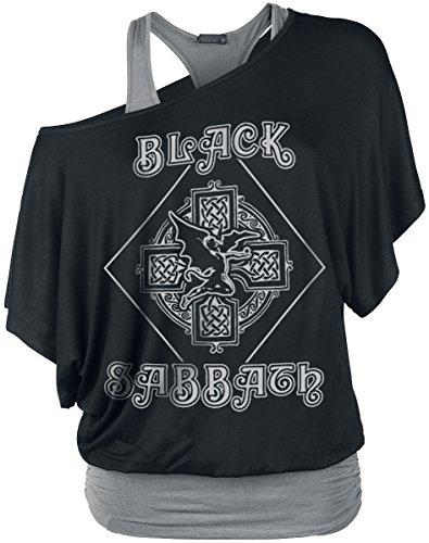 Black Sabbath Fallen Angel Logo Girl-Shirt Schwarz/Grau S (Fallen Angel T-shirt)