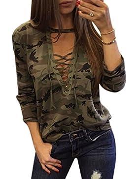Ai.Moichien Ejército Verde Camo Digital Lace Up V cuello Mujeres Deportes Gimnasio de algodón de manga larga Party...