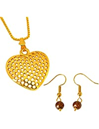 Surat Diamonds Heart Shaped Gold Plated Pendant And Brown Shell Pearl Wire Earring Set For Women With 22 IN Chain...