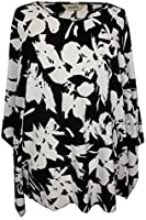 Damen Kimono Schwarz/Weiß Spitze Ärmel Übergröße Top