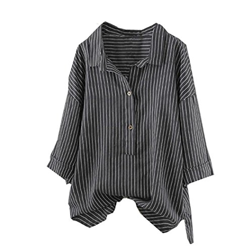 Zegeey Women Summer Autumn Fashion UniqueWomen CasualVintage Loose Button up Pullover Striped Top T Shirt Plus Size Tunic Blouse