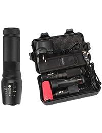 BBestseller LED antorcha lámpara,6000lm Genuino X800 Linterna Táctica L2 LED Kit Antorcha Militar (13.7cm, gris)