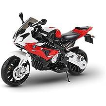 Moto électrique LT832 pour enfants BMW siège en cuir démarrage à clef. MEDIA WAVE store ® (Rouge)