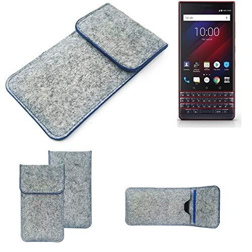 K-S-Trade® Filz Schutz Hülle Für -BlackBerry Key 2 LE Dual-SIM- Schutzhülle Filztasche Pouch Tasche Case Sleeve Handyhülle Filzhülle Hellgrau, Blauer Rand