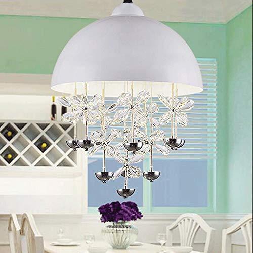 Kristall Rechteckigen Tisch Lampe (wykbm Neue LED-Restaurant Kronleuchter Post-modernen Einköpfige Persönlichkeit kreisförmig um den rechteckigen Tisch Lampe kristall Lampen bar DREI Farben Lichtquelle SMD-LED-Lichtquelle (Farbe weiß))
