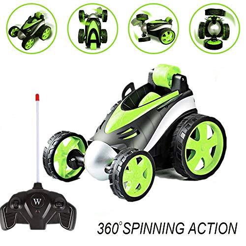ALLCELE Allrad-Trickfahrzeug, Fernbedienung, 360-Grad-Schwenker, sicher und langlebig, Geburtstagsgeschenk für Kinder, Jungen und Mädchen für Jungen, Grün