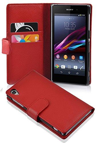Cadorabo Hülle für Sony Xperia Z1 - Hülle in INFERNO ROT – Handyhülle mit Kartenfach aus struktriertem Kunstleder - Case Cover Schutzhülle Etui Tasche Book Klapp Style