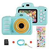 Vannico Kinder Digital Mini Kamera, Selfie Photo Kids Camera HD Kinderkamera 8 Megapixel, Wiederaufladbar Actionkameras Camcorder für Mädchen Jungen mit 16G SD Karte (Blau)