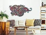 I-love-Wandtattoo WAS-12140 Wohnzimmer Wandtattoo Indien ''Buntes Muster'' Design Motiv zum Kleben Symbol rot grün gelb braun Om Blume Wandaufkleber indisch Form Meditation Schlafzimmer Aufkleber XXL