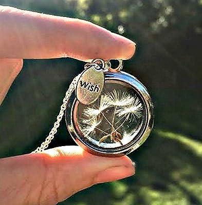 Médaillon Flottant Souhait de Pissenlit Pendentif Collier Chaîne en argent sterling 925 - BOITE CADEAU charm flottant Bijouterie cadeau unique pour les filles