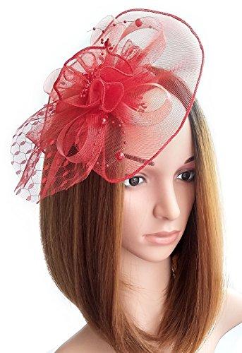 Frauen Fascinators Hut Haarclip Blumen Perlen für Cocktail Headwear Party Kopfschmuck (Halloween Diy Kostüme Niedlichen)