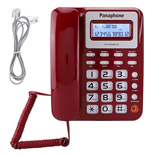 Diyeeni KX-2020CID Verkabeltes Englisches Telefon mit Lautsprecher, Diktiergerät, Rechner für Anrufer-ID-Anzeige. Drahtgebundenes Telefon mit Lautsprecher und Diktiergerät.(ROT)