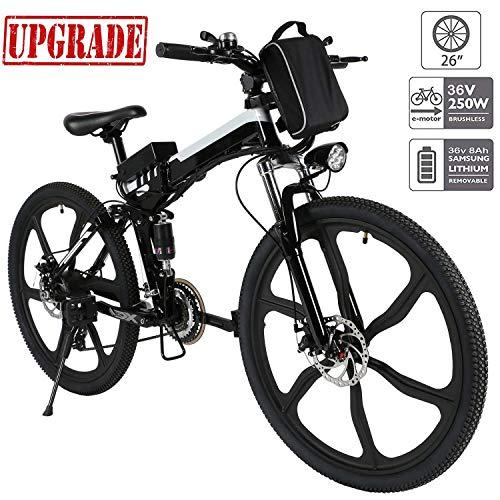 Hiriyt Faltbares E-Bike,36V 250W Elektrofahrräder, 8A Lithium Batterie Mountainbike,26 Zoll Große Kapazität Pedelec mit Lithium-Akku und Ladegerät (Schwarz Weiß)