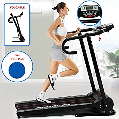 Fitnessclub Folding Electric Motorised Treadmill Walking Running Machine Incline Fitness Exercise Cardio Jogging Speed 10.0KM/H Designed Emergency System With Free Twist Plate Eu Power Adaptor by SWBUK