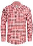 Stockerpoint Trachtenhemd OC-Martl | kariert | Regular Fit (XL, Rot)