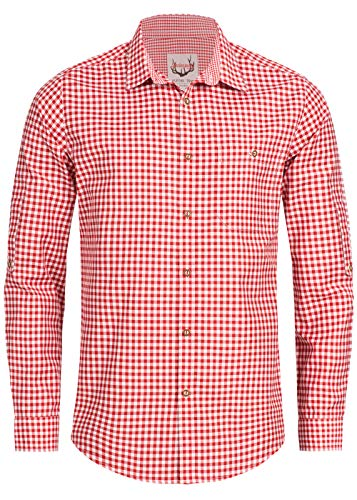Stockerpoint Trachtenhemd OC-Martl | kariert | Regular Fit (L, Rot)