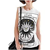 Damen Kurzarm,Frashing Mode Frauen Sterne Mond Brief Drucken Sleeveless Tank Crop Tops Weste Bluse La Lune Le Soleil Buchstabe Druck T-Shirt (XL, Weiß)