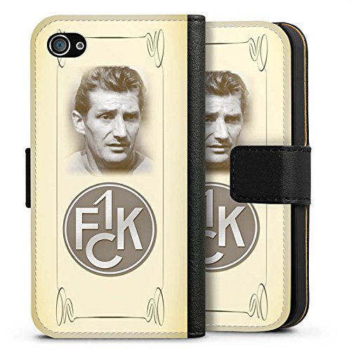 Apple iPhone X Silikon Hülle Case Schutzhülle 1. FC Kaiserslautern Fanartikel Fritz Walter Fußball Sideflip Tasche schwarz