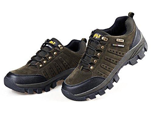 Minetom Scarpe da Trekking Uomo Donna,Impermeabile Scarpe da Escursionismo Arrampicata Stivali Unisex Resistente Traspirante Allacciatura Antiscivolo Sneakers Outdoor Scarpe A Verde giallo