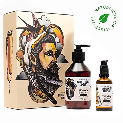 Whiskey Bartpflege-Set: Sonderedition Beard Bag ✔ bestehend aus Bartseife und Bartöl ✔ Naturkosmetik der BROOKLYN SOAP COMPANY ® ✔ Geschenkidee als Geschenk für Männer zu Weihnachten