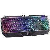 PICTEK Gaming Tastatur, 26 Key Anti-Ghosting-Tastatur mit Verstellbarer Rainbow LED-Hintergrundbeleuchtung, ergonomische Handballenauflage, Wasserdichte Computer-Tastatur für Gamer-Typisten
