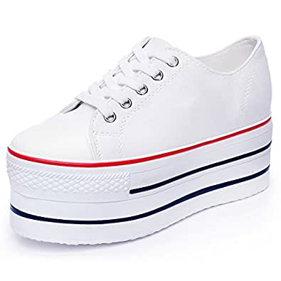 Rismart Damen Keilabsatz Canvas Espadrilles Fashion Sneakers Schuhe SN627(Weiß,EU37.5)