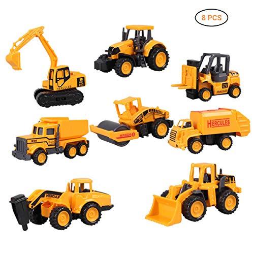 EisEyen 8 Stück Mini Legierung Bagger Lastwagen Autos Baustellenfahrzeug Auto LKW Truck Kinder Spielzeug für Kinder ab 1 2 3 Jahren - Baustelle Matchbox