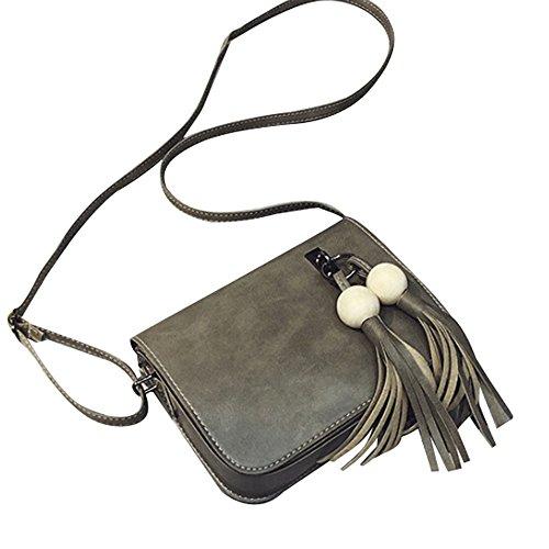 Longra Cuoio di modo delle donne di sacchetto nappe borsa Croce corpo spalla Grigio