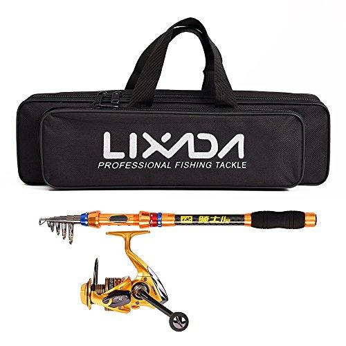 Lixada Angelrute Set Angelrolle und Teleskop-Angelrute Combo mit Angelgerät-Tasche für Seefischerei