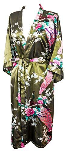 Bademantel Robe Wäsche -Nachtabnutzung Kleidbrautjunfer Junggesellinnenabschied (Olivgrün (Olive Green))