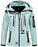 Geographical Norway Damen Softshelljacke Tassion Kapuze, Stehkragen aqua/anis XL
