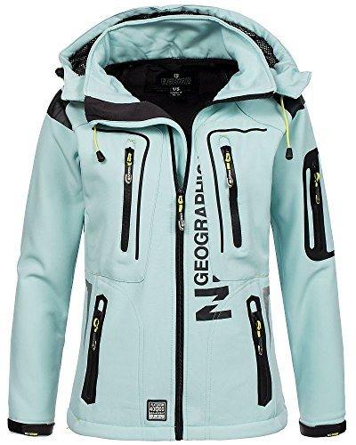 Geographical Norway Damen Softshelljacke Tassion Kapuze, Stehkragen aqua/anis L