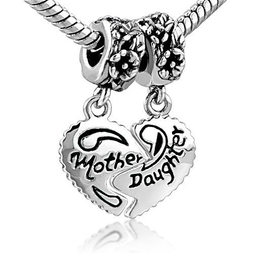 Uniqueen Jewellery Mother Daughter Heart Love Charms Dangle Bead Set Sale For Pandora/Troll/Chamilia Charm Bracelet