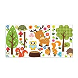 Fablcrew kreativ Wald Thema Wandsticker Wandtattoo Nett Tier Kinder DIY Sticker Aufkleber Decor für Küche Wohnzimmer Schlafzimmer kinderzimmer