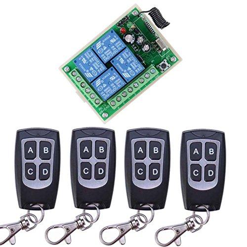 DC12V 4 Kanäle kabellose Fernbedienung Schalter Handsender Funkfernsteuerung Fernbedienungsschalter 4 * wasserdicht Fernbedienung Sender und 1 Empfänger Universal Gate Light Sicherheitssysteme
