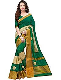 Pramukh Suppliers Cotton Saree With Blouse Piece (1B_G_Green_Free Size)
