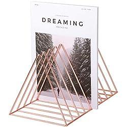 Nugoo - Porte-revues de forme triangle multifonction, 9compartiments pour livre, journaux et documents, rangement pour la maison et le bureau, or rose