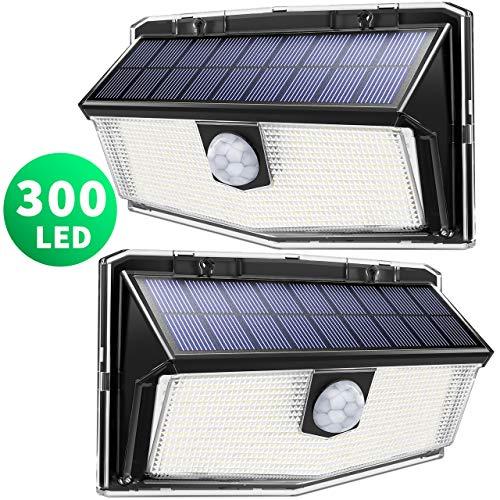 300 led luci solari esterno,【nuovo design nel 2020】luce solare con sensore di movimento, 270ºilluminazione wireless lampada solare per giardino, parete wireless risparmio energetico