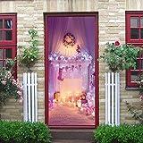 3D Tür Aufkleber Weihnachten Dekoration Rosa Kamin Wandmalerei Kunst Selbstklebende Klappe Aufkleber Abnehmbare Tür Aufkleber Aus Qt XINGMU