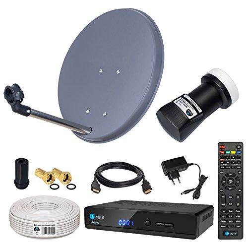 HB-DIGITAL Sat-Komplett-Set: Mini Sat Anlage 40cm Schüssel Anthrazit + UHD Single LNB 0,1 dB + 10m Kabel + HD 350S Receiver ( für HDTV geeignet )