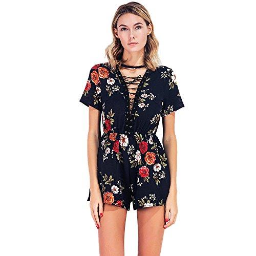 Frauen, Damen Floral Playsuit Summer Casual Short Jumpsuit (Swimsuit Belted)